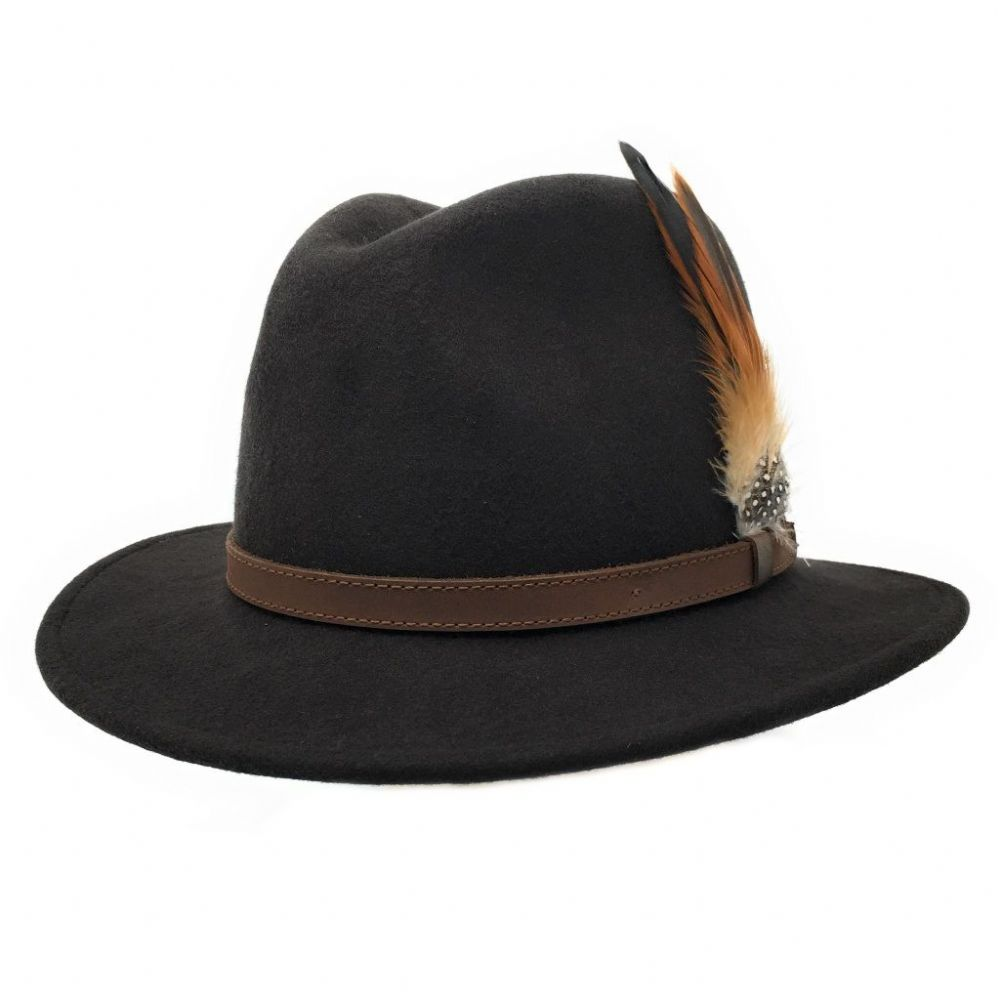 Brown Wool Fedora Hat - Showerproof - Arizona